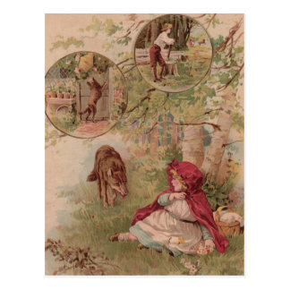 Cartão Postal Lobo que anda para a capa de equitação vermelha