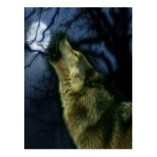 Cartão Postal Lobo que urra na lua
