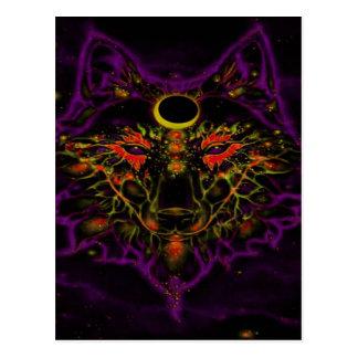 Cartão Postal Lobo roxo de néon Mythical