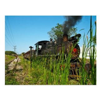 Cartão Postal Locomotiva de vapor na grama alta