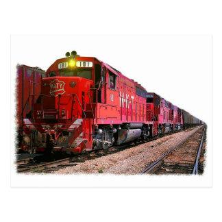 Cartão Postal Locomotiva diesel & trem vermelhos