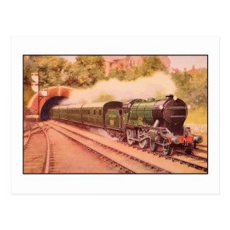 Cartão Postal Locomotiva Eton do vintage do Aquarelle