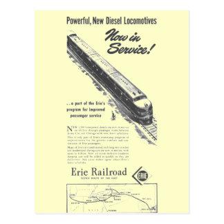 Cartão Postal Locomotivas diesel novas da estrada de ferro 1948