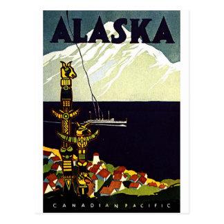 Cartão Postal Logotipo de Alaskla do vintage