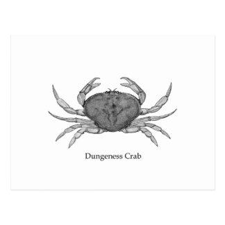 Cartão Postal Logotipo do caranguejo de Dungeness (linha arte)