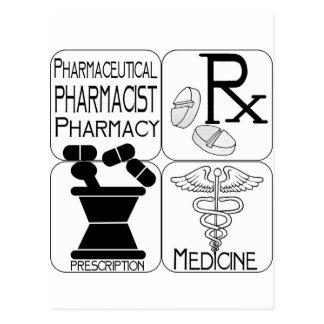 Cartão Postal LOGOTIPO do farmacêutico da farmácia