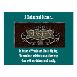 Cartão Postal Logotipo do rancho de Austin, um jantar de