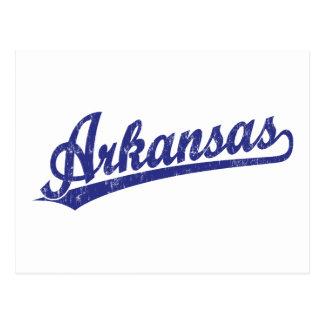 Cartão Postal Logotipo do roteiro de Arkansas no azul