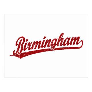 Cartão Postal Logotipo do roteiro de Birmingham no vermelho
