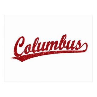 Cartão Postal Logotipo do roteiro de Columbo no vermelho