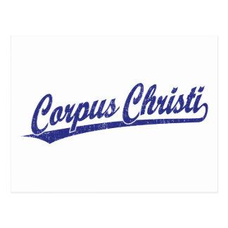 Cartão Postal Logotipo do roteiro de Corpus Christi no azul