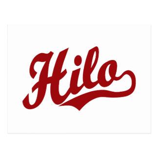 Cartão Postal Logotipo do roteiro de Hilo no vermelho