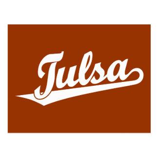 Cartão Postal Logotipo do roteiro de Tulsa no branco