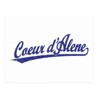 Cartão Postal Logotipo do roteiro do d'Alene de Coeur no azul