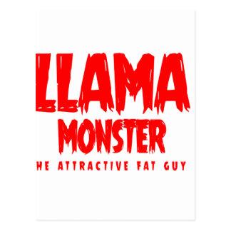 Cartão Postal Logotipo do vermelho do monstro do lama