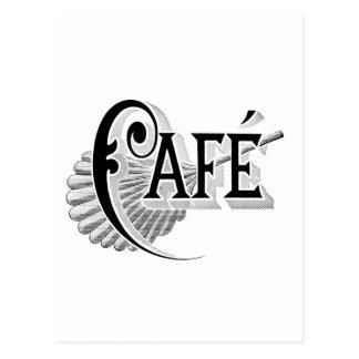 Cartão Postal Logotipo francês da cafetaria do café de Nouveau