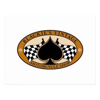 Cartão Postal Loja da motocicleta do vintage de Blackie