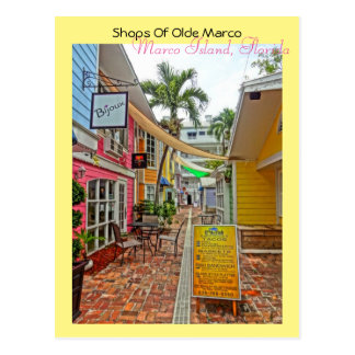Cartão Postal Lojas de Olde Marco - ilha Florida de Marco