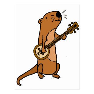 Cartão Postal Lontra de mar engraçada que joga o banjo