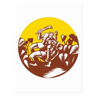 Cartão Postal Losi que derrota o Woodcut do círculo do deus