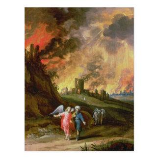 Cartão Postal Lote e suas filhas que deixam Sodom