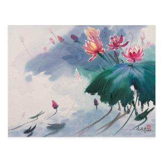 Cartão Postal Lotus na lagoa