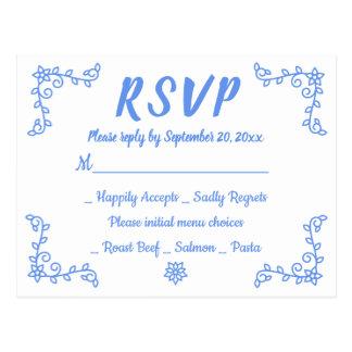 Cartão Postal Louro azul floral da flor do casamento do