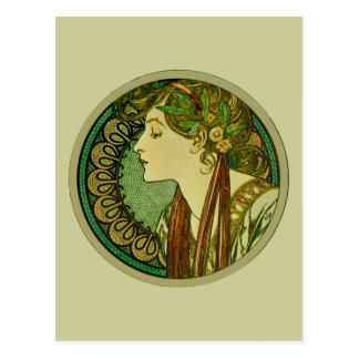 Cartão Postal Louro, belas artes Nouveau de Alphonse Mucha