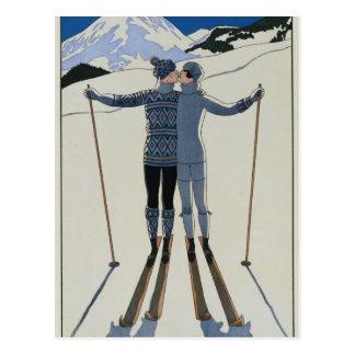 Cartão Postal <Lovers in the Snow> por Georges Barbier