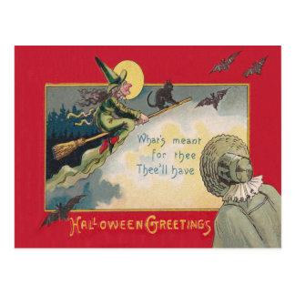 Cartão Postal Lua cheia do bastão do gato preto da bruxa do vôo
