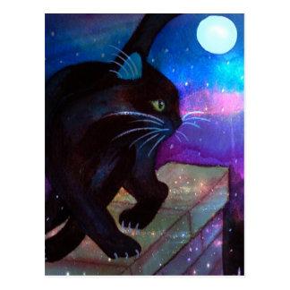 Cartão Postal Lua cheia do gato preto