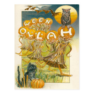 Cartão Postal Lua do bastão da coruja da abóbora do gato preto