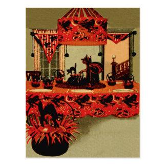 Cartão Postal Lua do crescente do gato preto da bruxa do partido