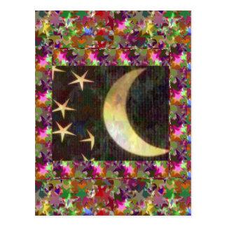 Cartão Postal Lua e estrelas: Fundo elegante da noite estrelado