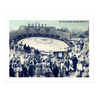 Cartão Postal Lua Rocket, parque olímpico, Irvington, vintage de