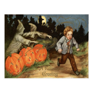 Cartão Postal Lua Scared lanterna do menino de Jack O do