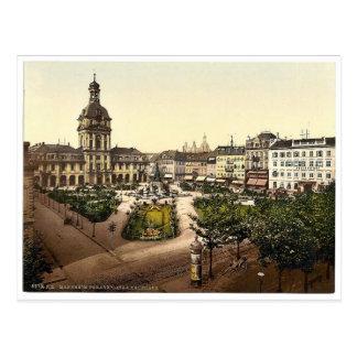 Cartão Postal Lugar da parada e Kaufhaus, Karlsruhe, Baden,