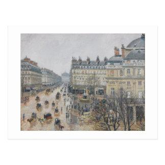 Cartão Postal Lugar du Teatro Francais, Paris: Chuva, 1898