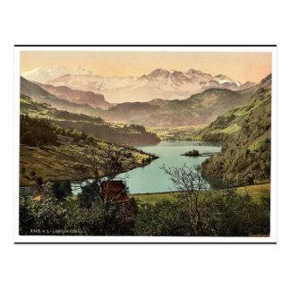 Cartão Postal Lungern, vista geral, vintage Photoch da suiça