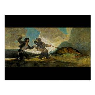 Cartão Postal Luta com os Cudgels por Francisco Goya c 1820