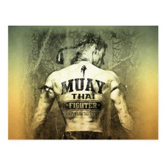 Cartão Postal Lutador tailandês de Muay do vintage