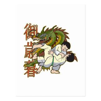 Cartão Postal Lutadores do karaté do dragão
