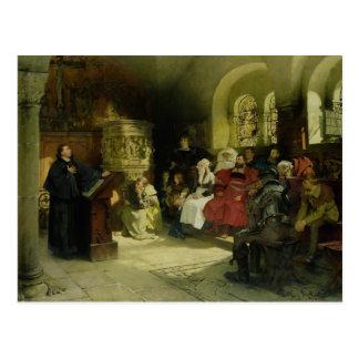 Cartão Postal Luther Preaches usando sua tradução da bíblia