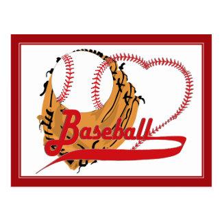 Cartão Postal Luva de basebol & coração do basebol