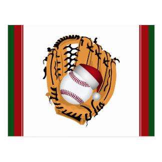 Cartão Postal Luva e bola de basebol do Natal