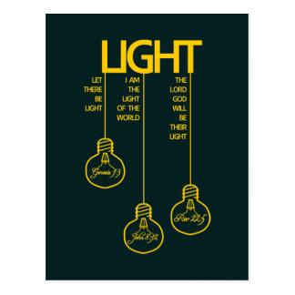 Cartão Postal Luz bíblica dos bulbos do vintage