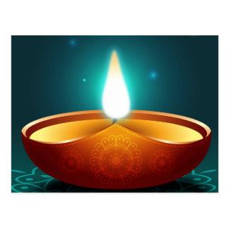 Cartão Postal Luz de vela azul escuro de Diwali