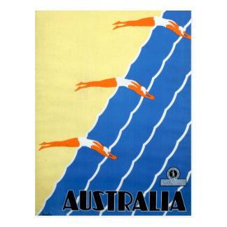 Cartão Postal Luz do sol e surf do vintage no viagem de