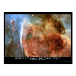 Cartão Postal Luz e sombra na nebulosa de Carina