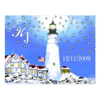 Cartão Postal Luz principal de Portland por Brigid O'Neill Hovey